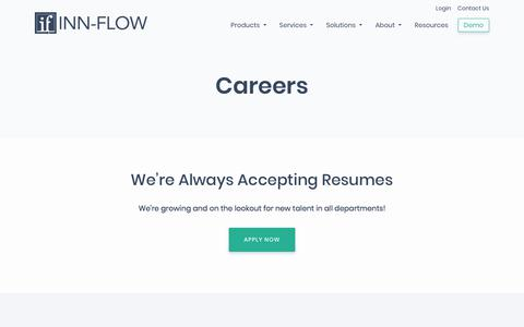 Screenshot of Jobs Page inn-flow.com - Careers in Hotel Software | Inn-Flow - captured Nov. 8, 2019