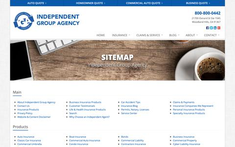 Screenshot of Site Map Page igainsurance.com - Insurance Website Sitemap | Independent Group Agency - captured Oct. 2, 2018