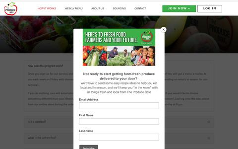 Screenshot of FAQ Page theproducebox.com - Produce Delivery FAQs | The Produce Box | Fresh Produce Delivery - captured Aug. 14, 2019