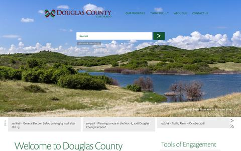 Screenshot of Home Page douglas.co.us - Welcome to Douglas County - Douglas County Government - captured Oct. 9, 2018