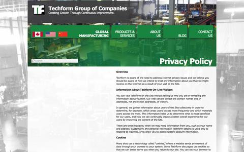 Screenshot of Privacy Page techform.com - Privacy Policy | Techform Group of Companies - captured Oct. 9, 2014