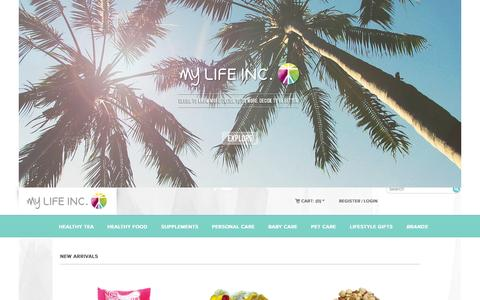 Screenshot of Home Page mylifeinc.me - my LIFE INC. - Online Lifestyle Shopping Store for Health & Wellness - captured Sept. 30, 2014