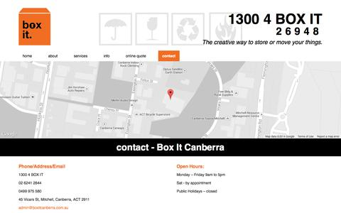 Screenshot of Contact Page boxitcanberra.com.au - contact - Box It Canberra - captured Oct. 5, 2014