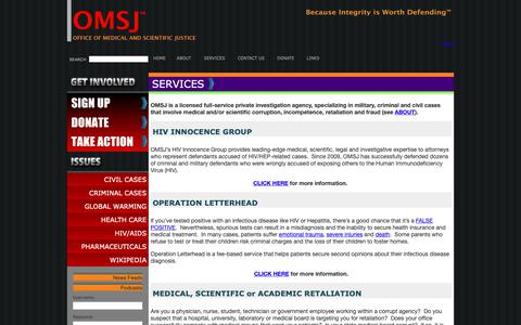 Screenshot of Services Page omsj.org captured Oct. 18, 2018
