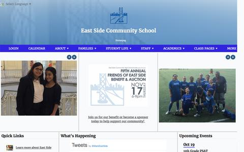 Screenshot of Home Page eschs.org - Home Page - East Side Community School - captured Oct. 19, 2016