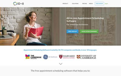 Screenshot of Home Page 10to8.com - Appointment Scheduling Software for Big and Small Businesses   10to8 - captured Jan. 7, 2018