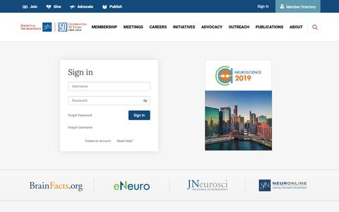 Screenshot of Login Page sfn.org - Society for Neuroscience - captured June 14, 2019