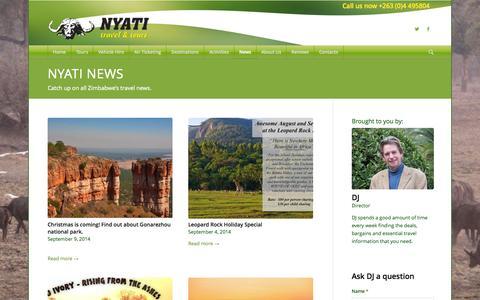 Screenshot of Press Page nyati-travel.com - News - Nyati Travel - captured Oct. 9, 2014