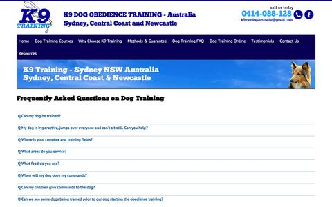 Screenshot of FAQ Page dogobedience.com.au - Dog Training Faq - K9 Dog Obedience - captured March 13, 2016