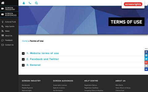 Screenshot of Terms Page screenrights.org - Terms of Use   Screenrights - captured Sept. 21, 2018