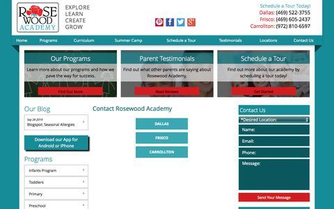 Screenshot of Locations Page rosewoodacademy.net - Locations | Carrollton Preschool - captured Oct. 29, 2014