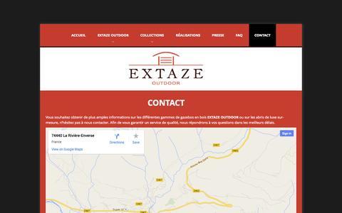 Screenshot of Contact Page extaze-outdoor.com - Contact EXTAZE OUTDOOR, création espaces extérieurs, Haute-Savoie   Extaze Outdoor - captured Oct. 3, 2014