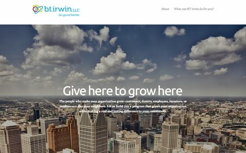 Screenshot of Home Page btirwin.com - BT Irwin, LLC - captured Oct. 4, 2014