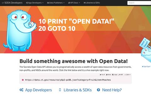 Screenshot of Developers Page socrata.com - Socrata Developers   Socrata - captured March 30, 2016