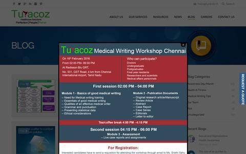 Screenshot of Blog turacoz.com - Medical Writing Tips blog  | Turacoz - Healthcare Solutions - captured Feb. 17, 2016
