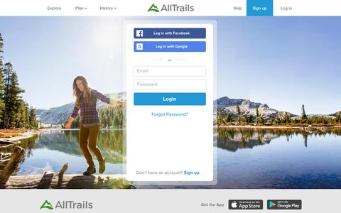 Screenshot of Login Page alltrails.com - Login | AllTrails - captured June 14, 2018