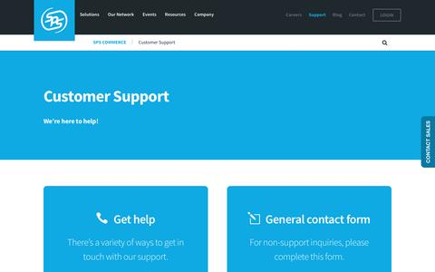 Screenshot of Support Page spscommerce.com - Customer Support | SPS Commerce - captured Jan. 14, 2017