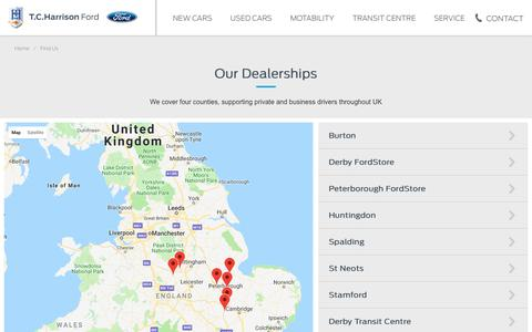 Screenshot of Contact Page Locations Page tch.co.uk - Find Your Nearest TC Harrison Ford Dealership Location - captured Oct. 22, 2018