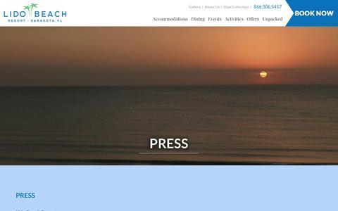 Screenshot of Press Page lidobeachresort.com - Press Room | Media Inquiries | Lido Beach Resort - captured May 18, 2017