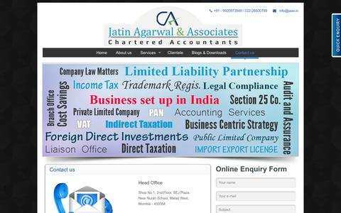 Screenshot of Contact Page jaas.in - Company Registration In Mumbai-Company Formation In Mumbai - captured Oct. 6, 2014
