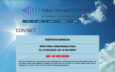 Screenshot of Contact Page askari.aero - Aviation Spares Provider | CONTACT - captured Oct. 4, 2018