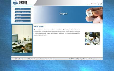 Screenshot of Support Page cornetindia.com - Support - captured Oct. 1, 2014