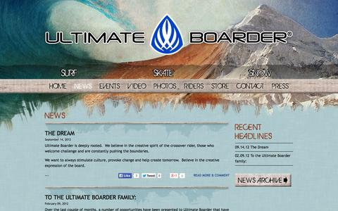 Screenshot of Press Page ultimateboarder.com - Ultimate Boarder ® : News - captured Oct. 4, 2014
