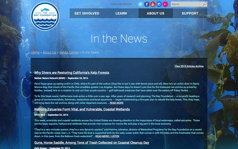 Screenshot of Press Page santamonicabay.org - In the News - The Bay Foundation - captured Oct. 4, 2014