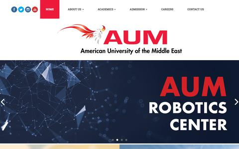 Screenshot of Home Page aum.edu.kw - Home - American University of the Middle East (AUM), Kuwait - captured Sept. 22, 2018