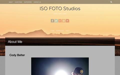 Screenshot of About Page isofotostudios.com - About Cody Belter the man behind ISO FOTO | ISO FOTO Studios - captured Sept. 30, 2014