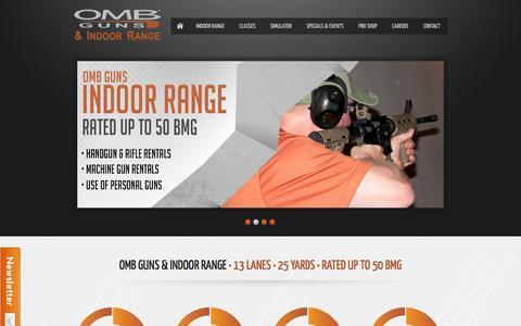 Screenshot of Home Page ombrange.com - OMB Guns & Indoor Range - captured Oct. 7, 2014