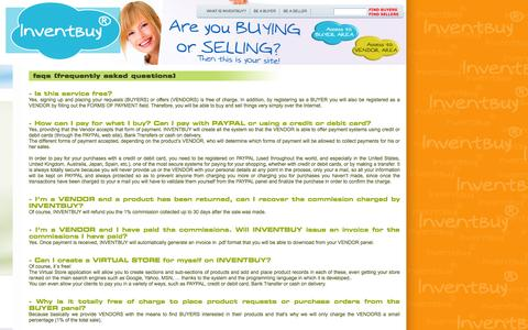 Screenshot of FAQ Page inventbuy.com - FAQs (frequently asked questions) Buy or Sell.Electronics, Cars, Fashion, Collectibles, Coupons and More Online Shopping.Auto Classifieds - captured Oct. 27, 2014