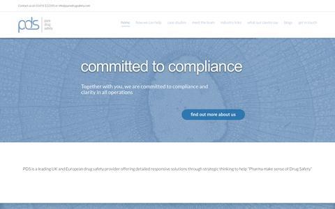Screenshot of Home Page puredrugsafety.com - Leading UK and European drug safety provider - PDS - captured Nov. 15, 2016