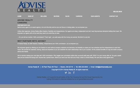 Screenshot of Jobs Page adviserealty.com - AdviseRealty - captured Oct. 4, 2014