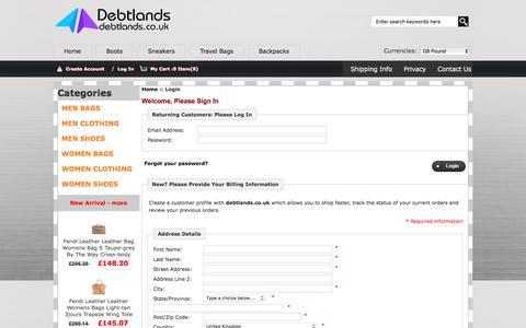 Screenshot of Login Page debtlands.co.uk - Login : MEN CLOTHING,MEN BAGS,WOMEN SHOES Sale - Up to 45% Off - captured June 4, 2017