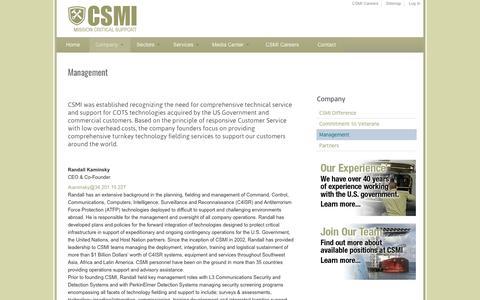Screenshot of Team Page csmi.com - Management | csmi.com - captured May 13, 2017