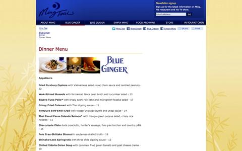 Screenshot of Menu Page ming.com - Blue Ginger: Dinner Menu — Ming Tsai - captured Sept. 23, 2014