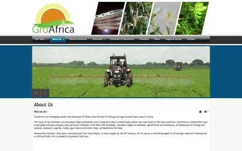 Screenshot of About Page groafrica.com - About Us - captured Sept. 30, 2014