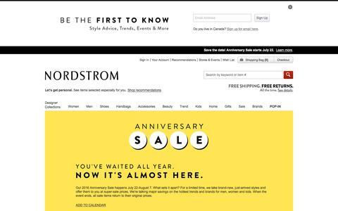 Screenshot of nordstrom.com - Nordstrom Anniversary Sale - captured March 29, 2016