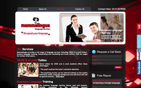 Screenshot of Services Page mammalingua.com - Mammalinga Language Services - captured Oct. 4, 2014