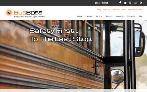 Screenshot of Home Page busboss.com - Comprehensive School Bus Routing Software Solutions - captured Jan. 26, 2015
