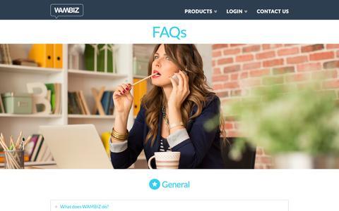 Screenshot of FAQ Page wambiz.com - FAQs   Wambiz - captured Feb. 21, 2016