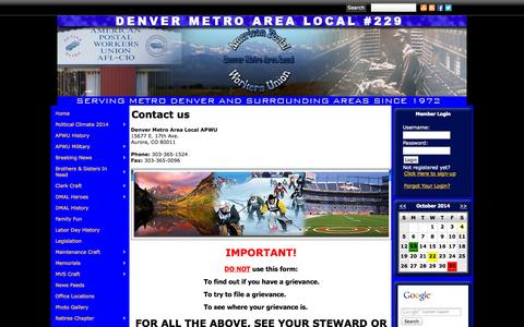 Screenshot of Contact Page denverapwu.com - Denver Metro Area Local APWU - captured Oct. 4, 2014
