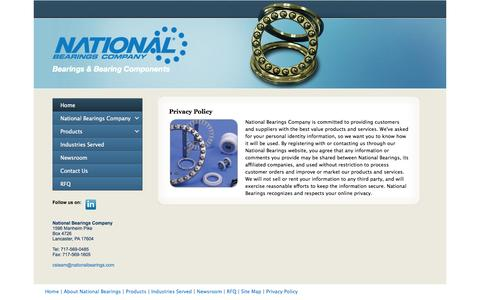 Screenshot of Privacy Page nationalbearings.com - Custom Bearings and Bearing Components Manufacturer: National Bearings Company - captured Oct. 7, 2014