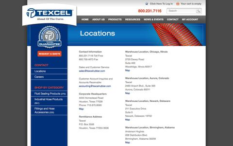 Screenshot of Locations Page texcelrubber.com - Locations | Texcel - captured Nov. 30, 2016