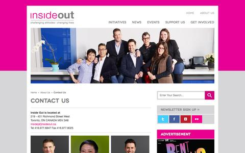 Screenshot of Contact Page insideout.ca - Inside Out | Contact Us - captured Sept. 30, 2014