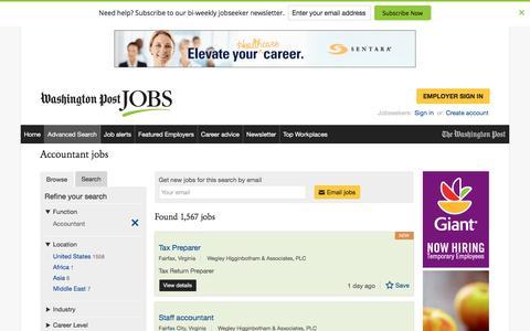 Screenshot of Jobs Page washingtonpost.com - Accountant jobs - captured Oct. 30, 2016