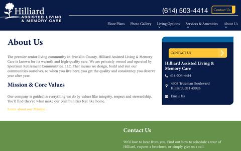 Screenshot of About Page spectrumretirement.com - About Hilliard Assisted Living & Memory Care - captured Jan. 23, 2017