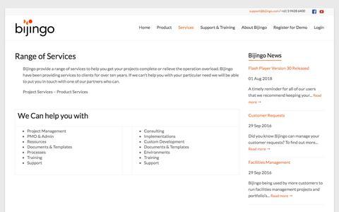 Screenshot of Services Page bijingo.com - Services: Range | bijingo.com - captured Aug. 2, 2018