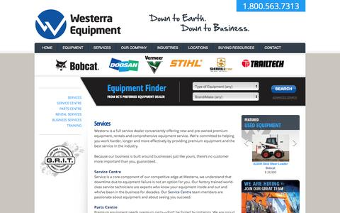 Screenshot of Services Page westerraequipment.com - Services | Westerra Equipment - captured Oct. 7, 2014